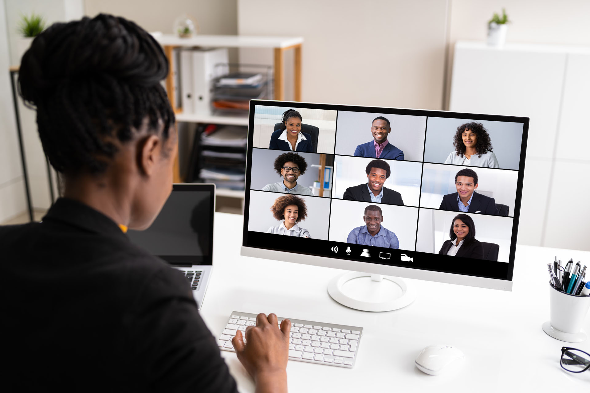 African,Woman,Video,Conference,Business,Call,On,Computer,Screen